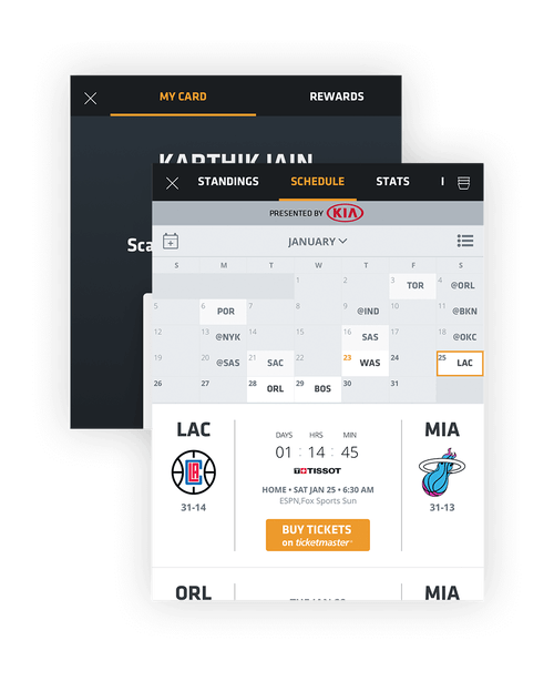 Composite Image of Miami Heat Mobile App: Personalized Schedule and Account screens