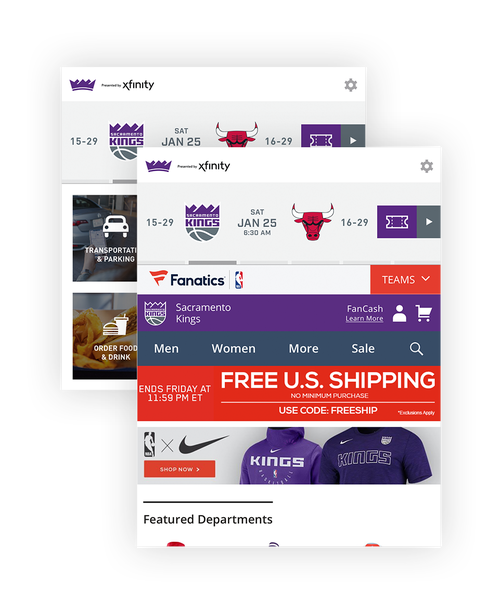 Composite Image of Kings Mobile App: team store and App Remote screens