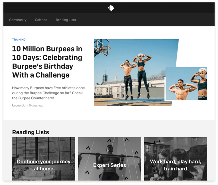 Screenshot of Freeletics blog page