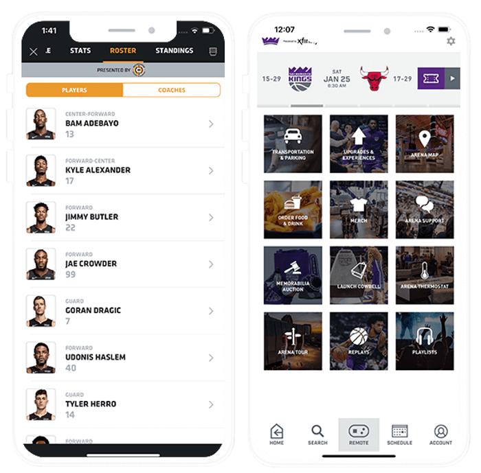 Image of Miami Heat and Sacramento Kings apps