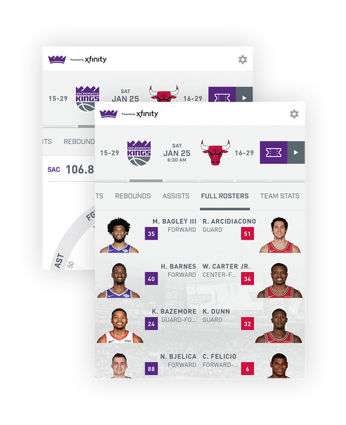 Image of Sacramento Kings roster in app
