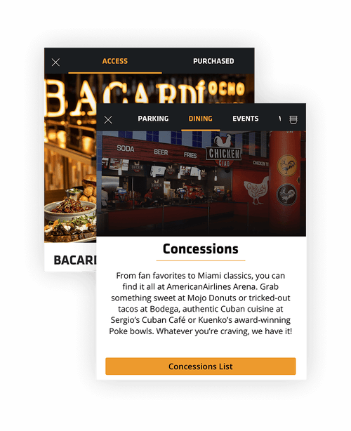 Composite Image of Miami Heat Mobile App: Dining screens